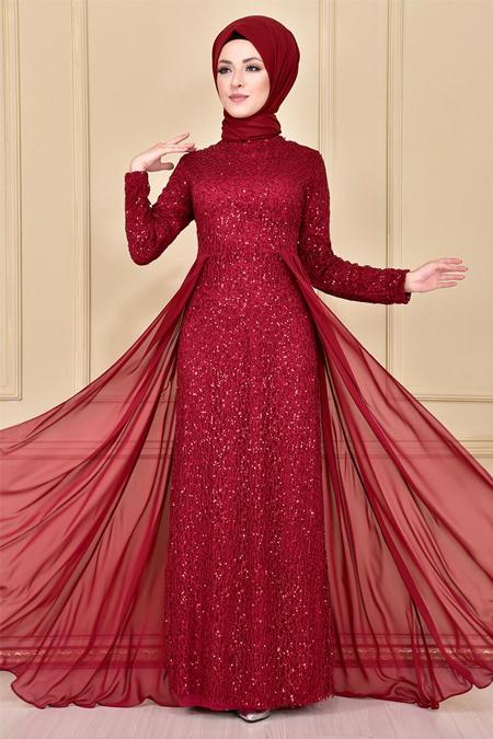 Modamerve Bordo Pullu Şifon Detay Abiye Elbise