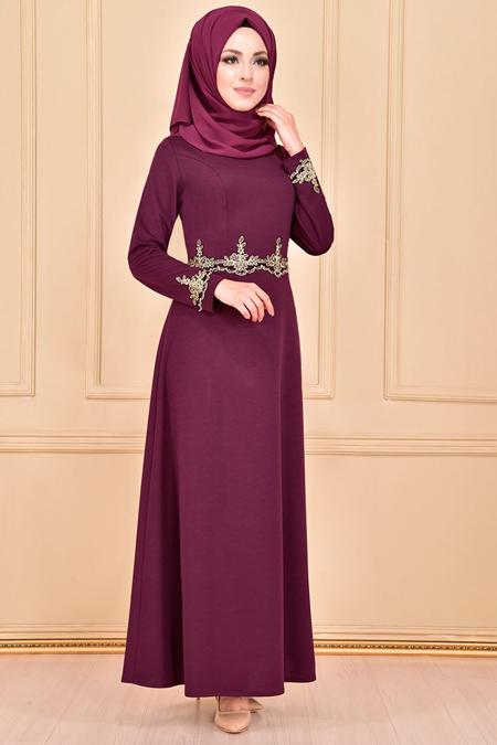 Modamerve Dantel Detaylı Mor Elbise