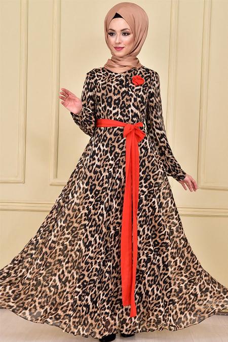Modamerve Kırmızı Kruvaze Yaka Leopar Şifon Elbise