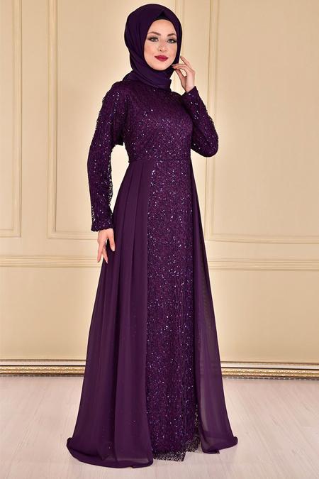 Modamerve Mor Pullu Şifon Detay Abiye Elbise