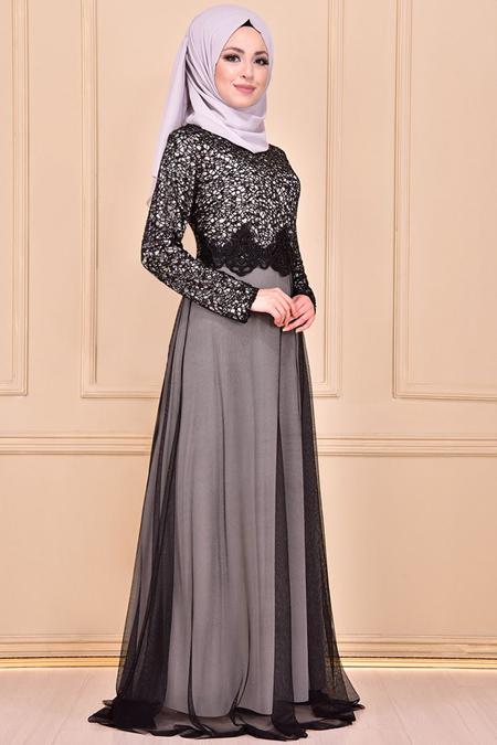 Modamerve Pul Payetli Siyah Abiye Elbise