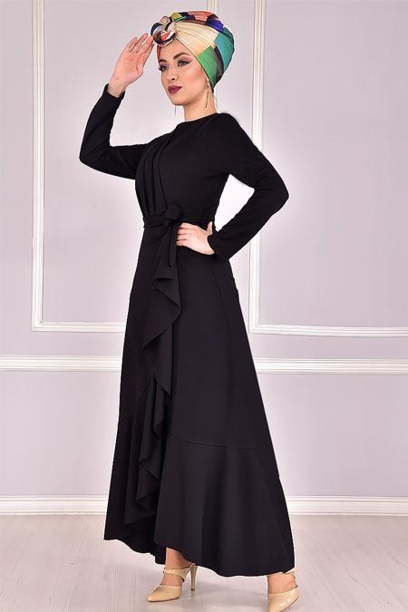 Modamerve Siyah Çapraz Fırfırlı Kuşaklı Elbise