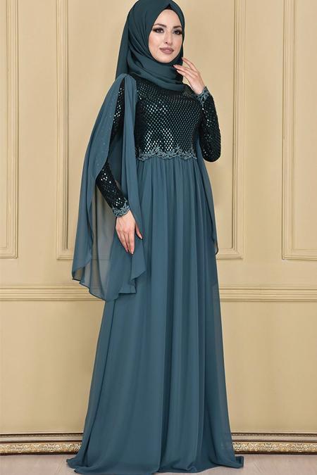 Modamerve Zümrüt Dantelli Şifon Etekli Elbise