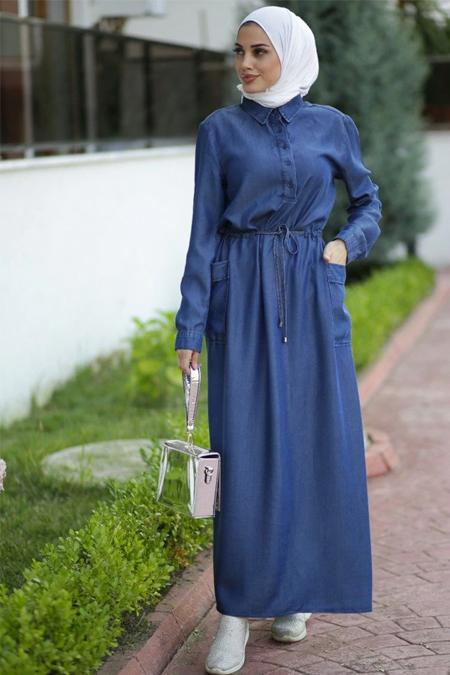 Neways Mavi Gömlek Yaka Elbise