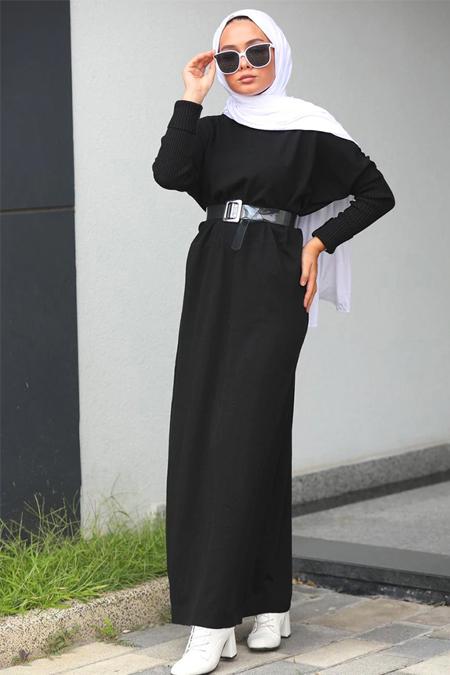 Neways Siyah Triko Elbise