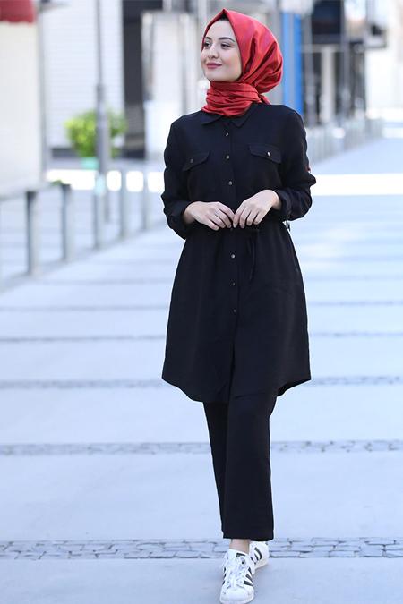 Puqqa Siyah Berra Tunik & Pantolon İkili Takım