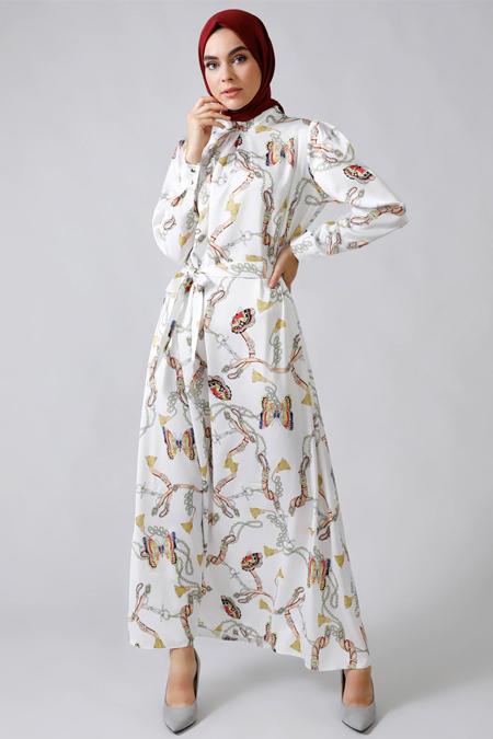 Refka Ekru Zincir Desenli Elbise