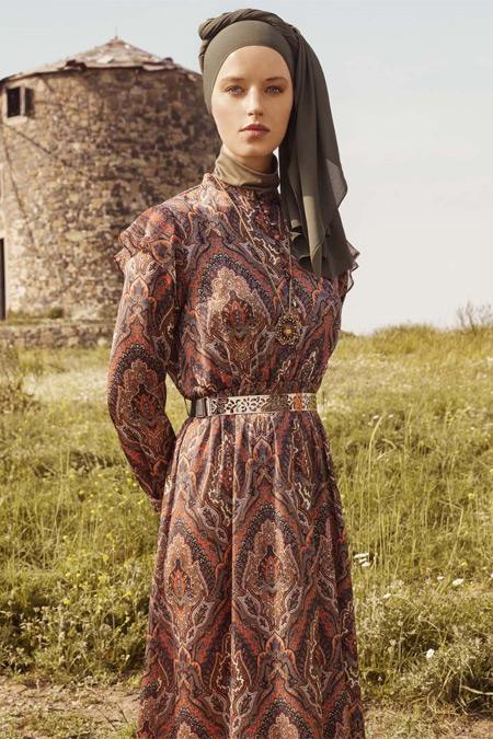 Refka Taba Fırfır Detaylı Etnik Desenli Elbise