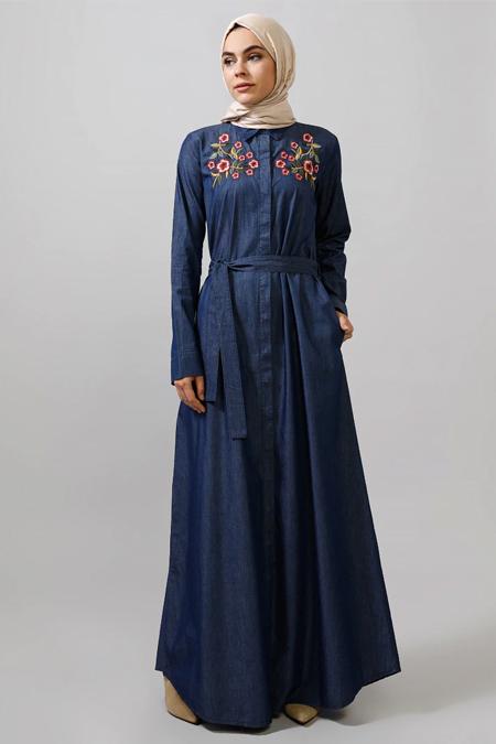 Refka Koyu Kot Mavisi Doğal Kumaşlı Kot Elbise