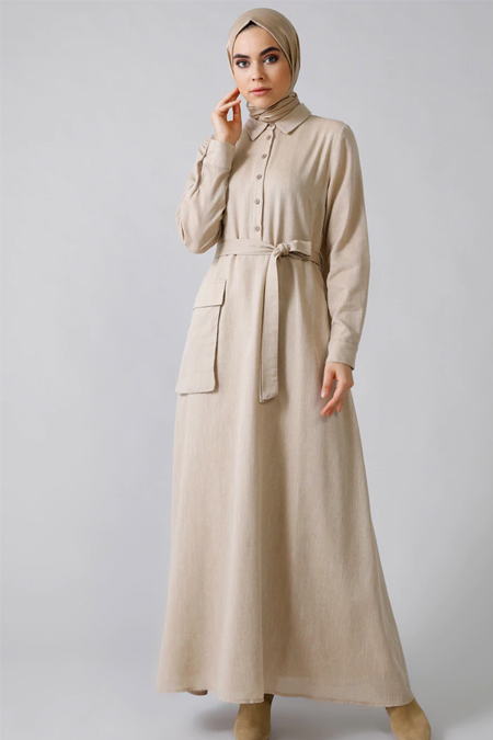 Refka Krem Doğal Kumaşlı Cep Detaylı Elbise