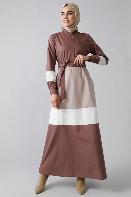 Refka Kahve Düğme Detaylı Kuşaklı Elbise