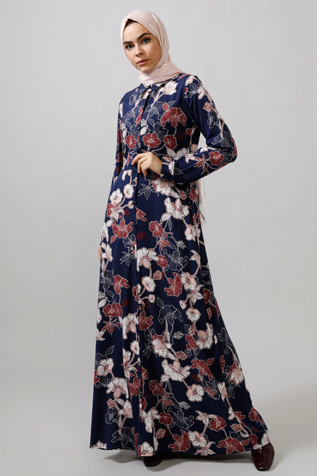 Refka Lacivert Çiçek Desenli Doğal Kumaşlı Elbise
