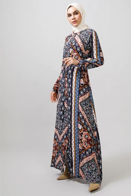 Refka Lacivert Çiçek Desenli Elbise