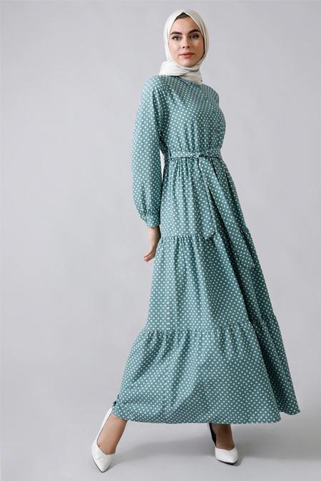 Refka Mint Doğal Kumaşlı Puantiyeli Elbise