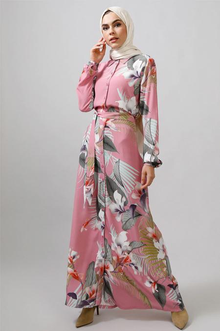 Refka Pembe Çiçek Desenli Elbise