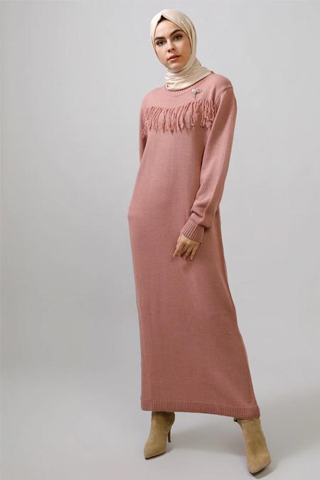 Refka Pudra Broşlu Triko Elbise
