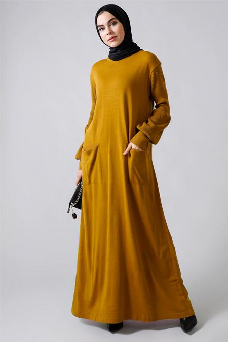 Refka Safran Balon Kol Detaylı Cepli Triko Elbise