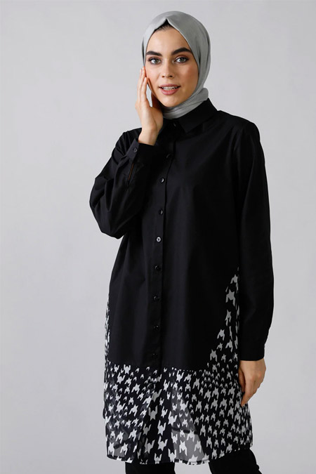Refka Siyah Doğal Kumaşlı Desenli Gömlek