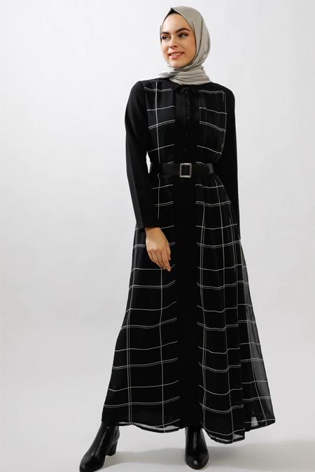 Refka Siyah Şifon Detaylı Kemerli Elbise