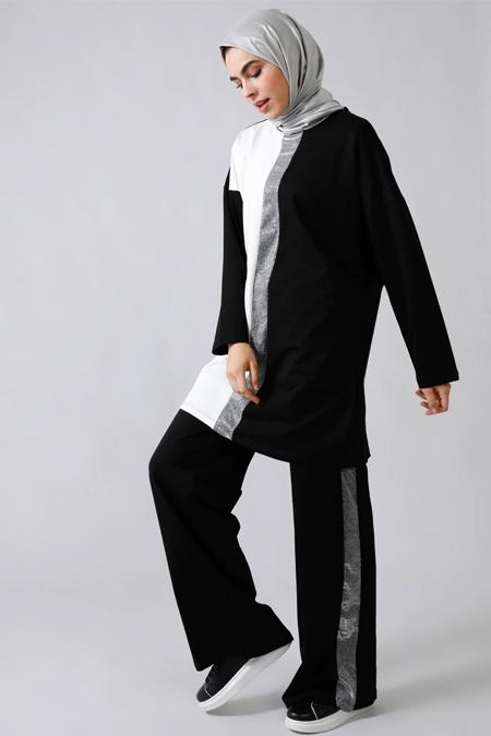 Refka Siyah Sim Detaylı Garnili Eşofman Takımı