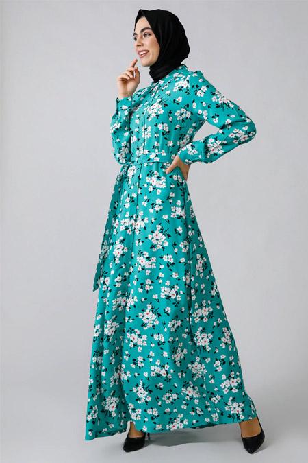 Refka Yeşil Boydan Düğmeli Çiçekli Elbise