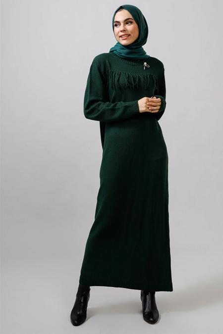 Refka Zümrüt Broşlu Triko Elbise