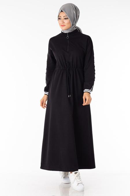 Siyah Fermuar Detaylı Tesettür Elbise