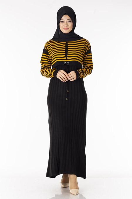 Siyah Hardal Çizgili Bolerolu Tesettür Elbise