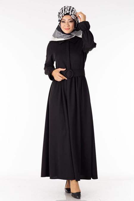Siyah Kemerli Tesettür Elbise