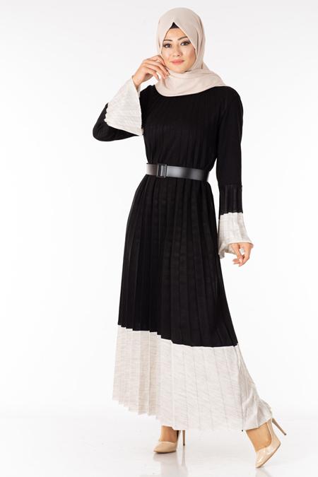 Siyah Piliseli Kemerli Tesettür Elbise