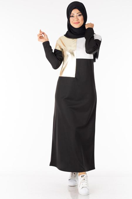 Siyah Varak Garnili Tesettür Elbise