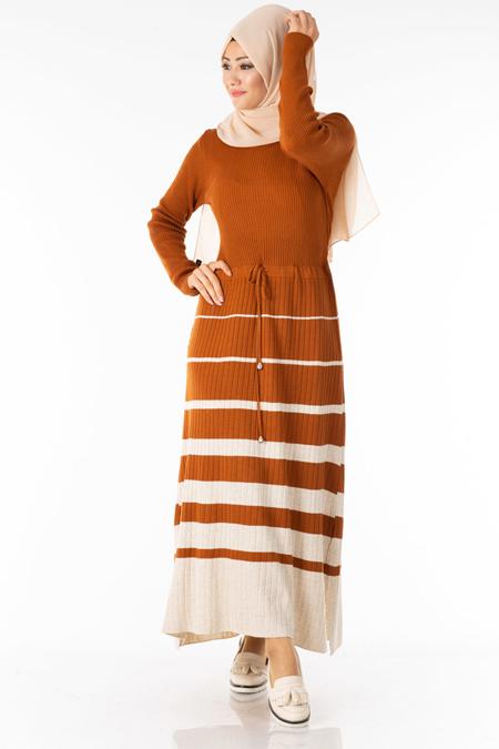 Tarçın Çizgili Beli Lastikli Tesettür Elbise
