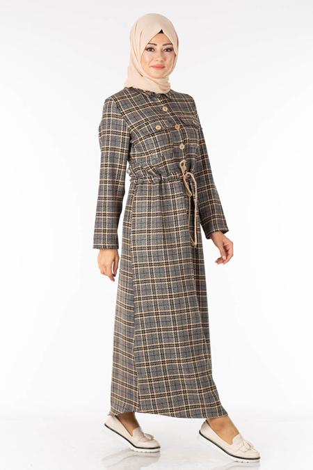 Vizon Düğme Detay Ekose Tesettür Elbise