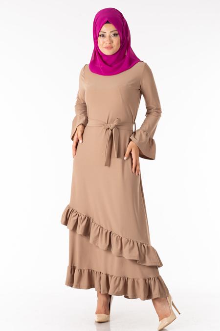 Vizon Fırfırlı Kuşaklı Tesettür Elbise
