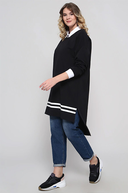 Alia Siyah Beyaz Gömlek Yakalı Tunik