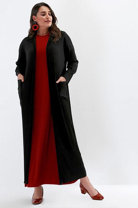 Alia Siyah Cep Detaylı Uzun Hırka