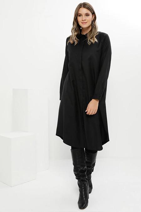 Alia Siyah Doğal Kumaşlı Gizli Düğmeli Tunik