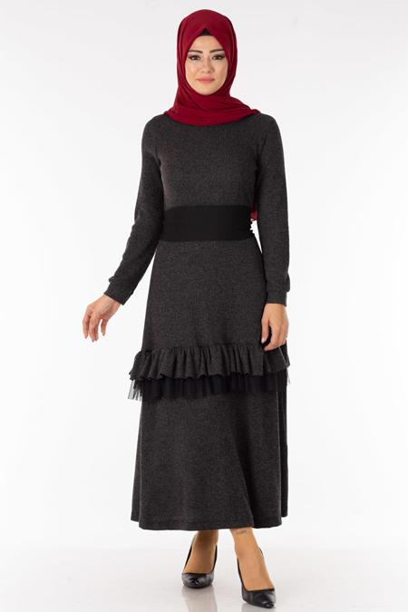 Antrasit Fırfırlı Kuşaklı Tesettür Elbise