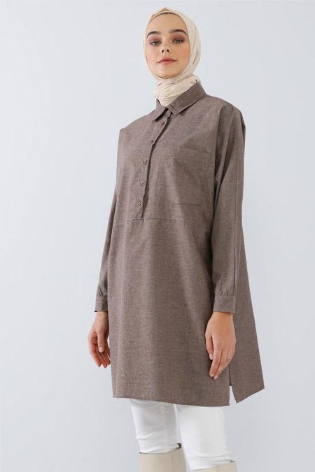 Benin Kahverengi Cep Detaylı Gömlek Tunik
