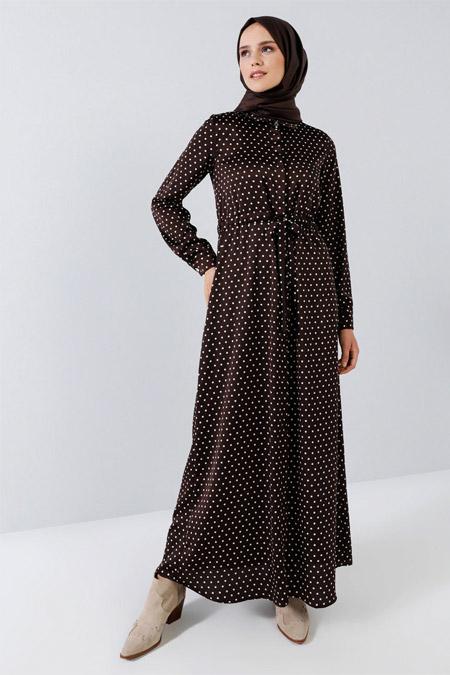 Benin Toprak Boydan Gizli Düğmeli Puantiyeli Elbise