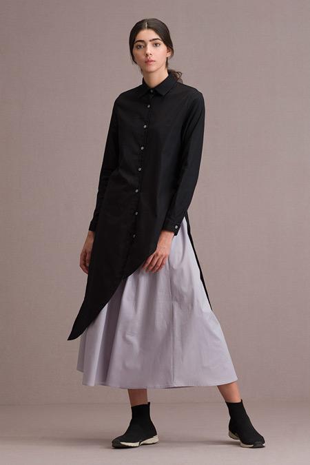 Eda Atalay Asimetrik Gömlek Etek İkili Siyah Takım