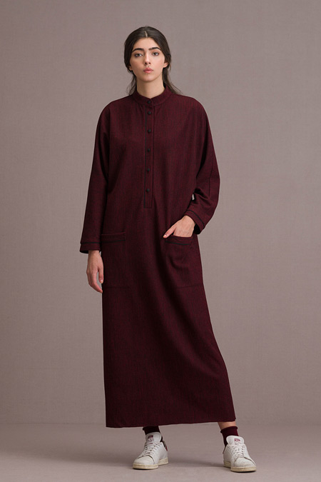 Eda Atalay Biyeli Cep Detaylı Maksi Bordo Elbise