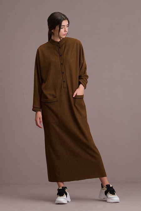 Eda Atalay Biyeli Cep Detaylı Maksi Hardal Elbise