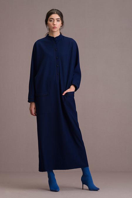 Eda Atalay Biyeli Cep Detaylı Maksi Saks Elbise