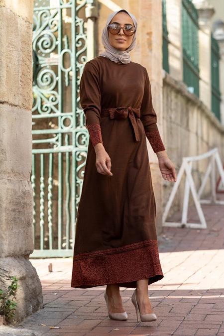 Gizem Kış Kahverengi Triko Elbise