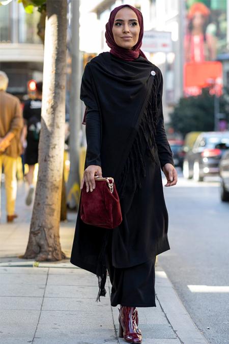 Gizem Kış Siyah Triko Tunik & Pantolon İkili Takım