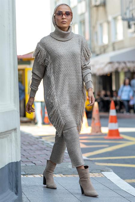 Gizem Kış Taş Püskül Detaylı Tunik & Pantolon İkili Takım