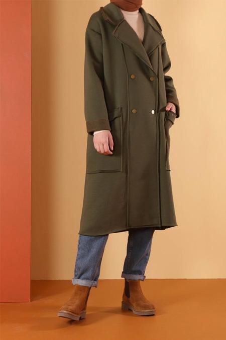 HE-QA Haki Şardonlu Ceket