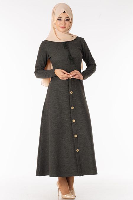 Haki Eteği Düğmeli Tesettür Elbise