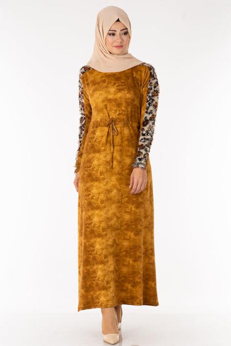 Hardal Kolu Pullu Saçaklı Tesettür Elbise